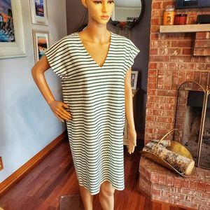 J. Crew cotton cream & green stripe dress NWT